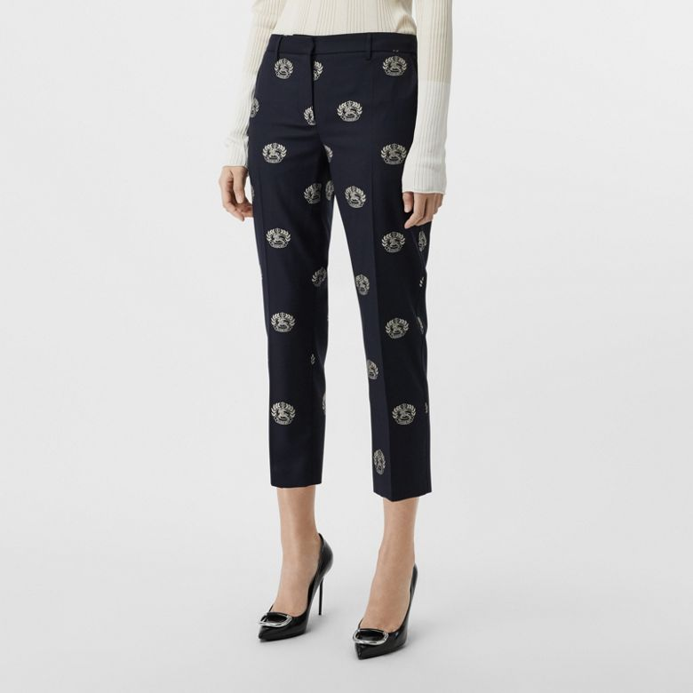 Burberry - Cropped-Wollhose mit Ritteremblem - 5