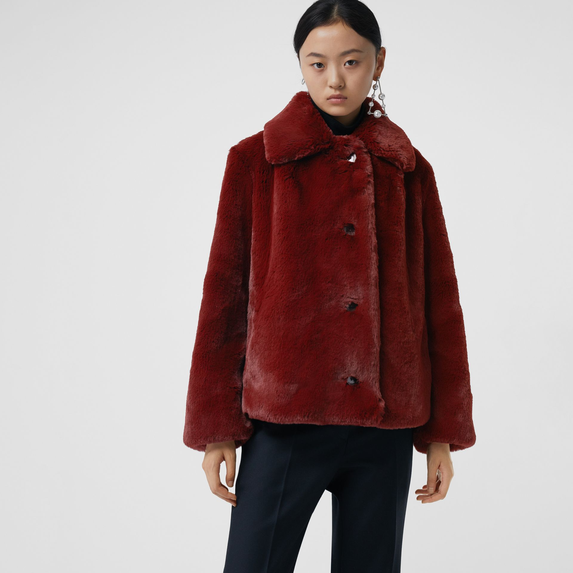 Faux Fur Single-Breasted Jacket in Burgundy - Women | Burberry - gallery image 4