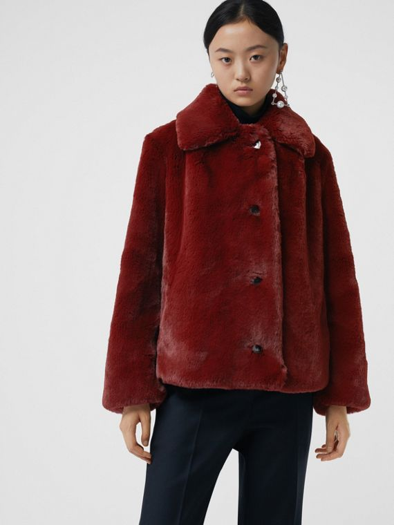 Faux Fur Single-Breasted Jacket in Burgundy