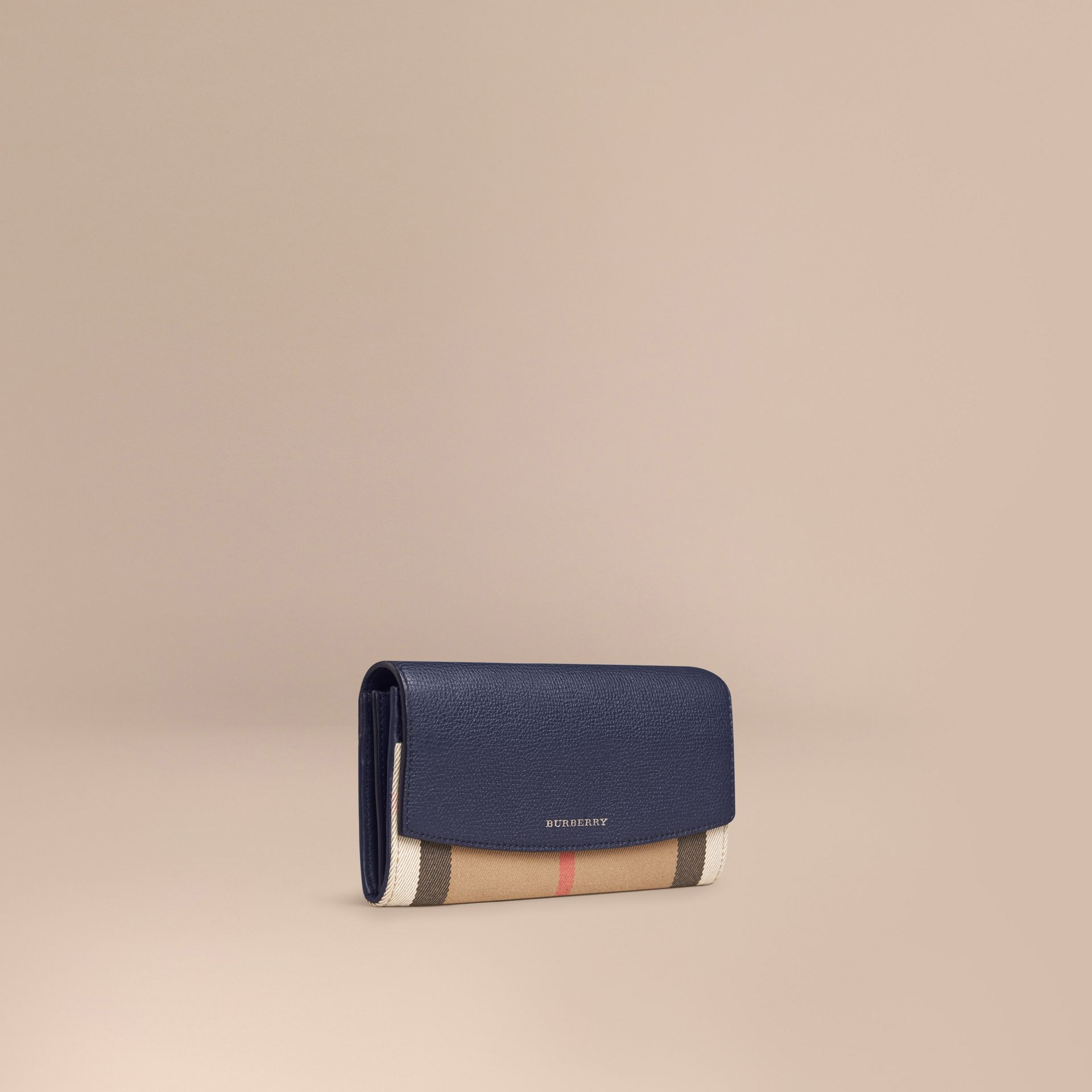 House Check And Leather Continental Wallet in Ink Blue - Women | Burberry - gallery image 3