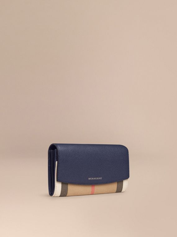 House Check And Leather Continental Wallet Ink Blue - cell image 2