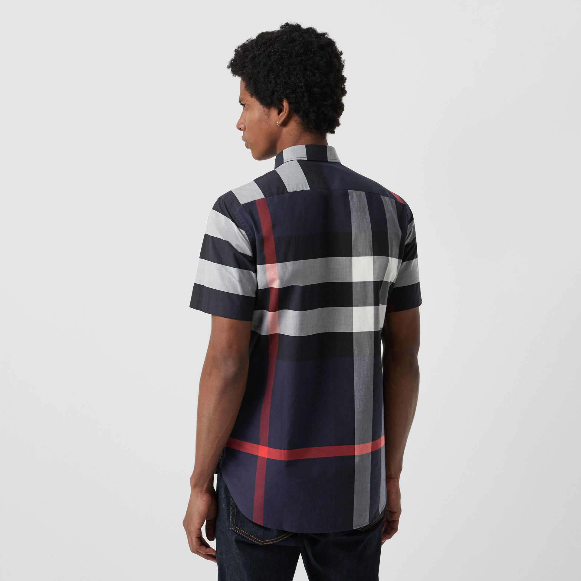 Short-sleeve Check Stretch Cotton Shirt in Navy - Men | Burberry Canada - gallery image 2
