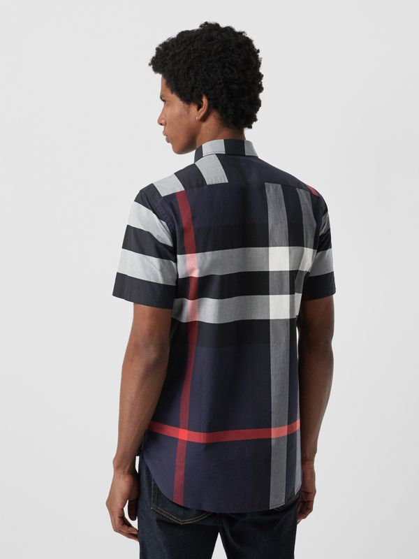 Short-sleeve Check Stretch Cotton Shirt in Navy - Men | Burberry United States - cell image 2