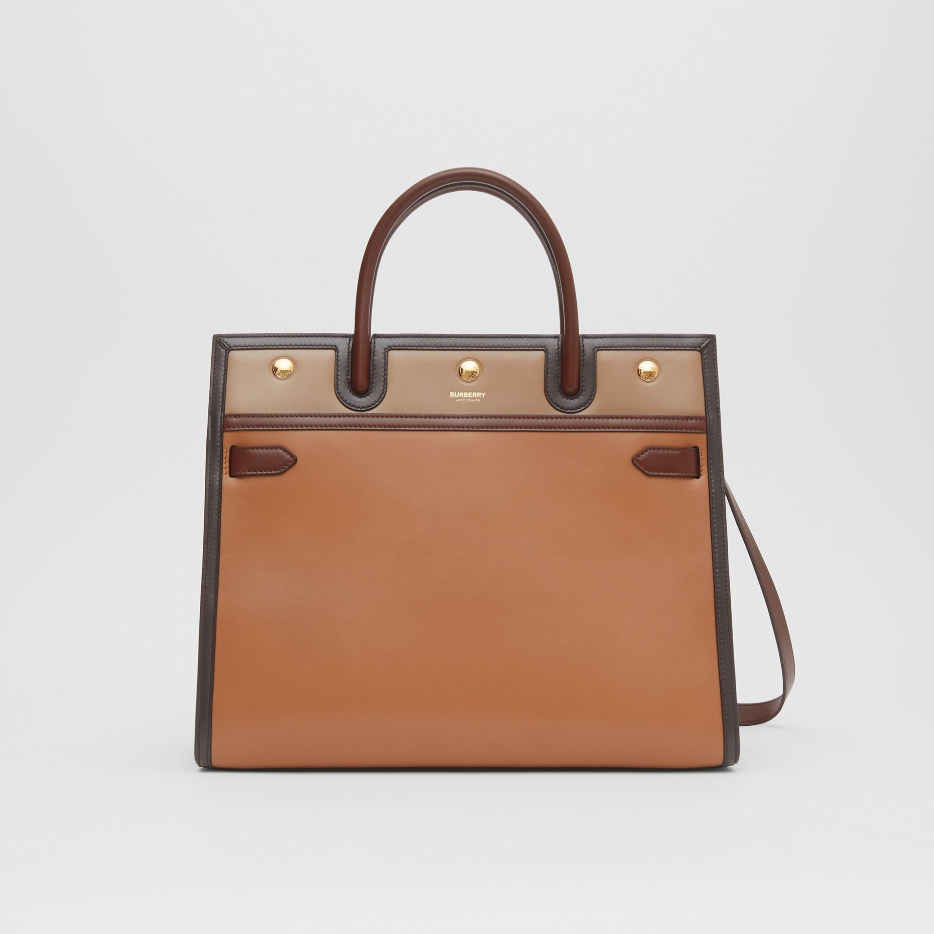 Medium Colour Block Leather Two-handle Title Bag in Soft Fawn - Women | Burberry United States - gallery image 0