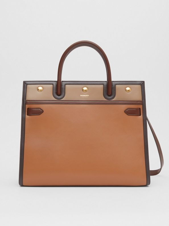Medium Colour Block Leather Two-handle Title Bag in Soft Fawn