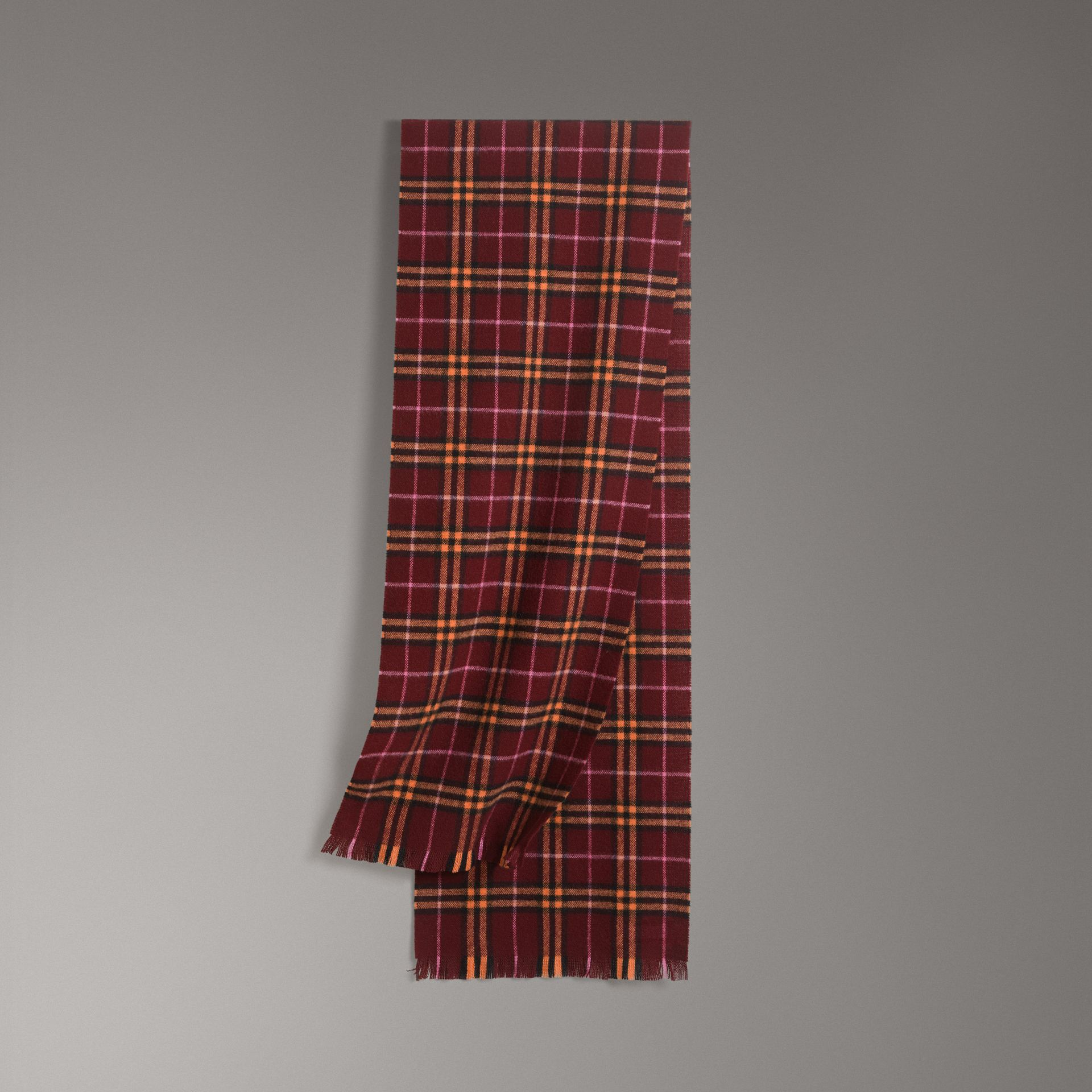 Check Cashmere Scarf in Dark Crimson | Burberry Australia - gallery image 0