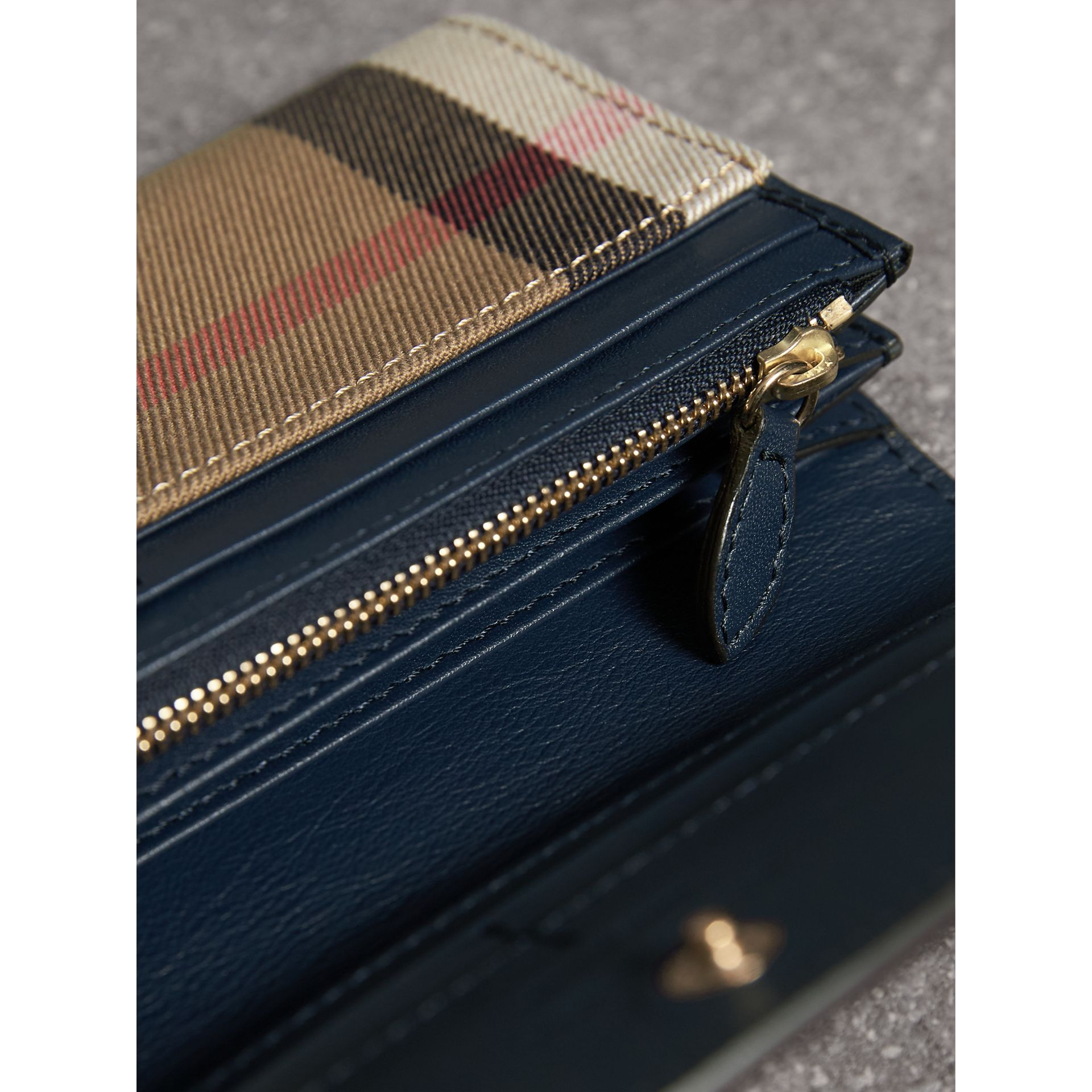 House Check And Leather Continental Wallet in Ink Blue - Women | Burberry Singapore - gallery image 3