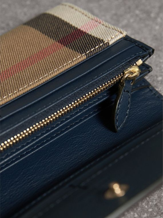 House Check And Leather Continental Wallet in Ink Blue - Women | Burberry United Kingdom - cell image 3