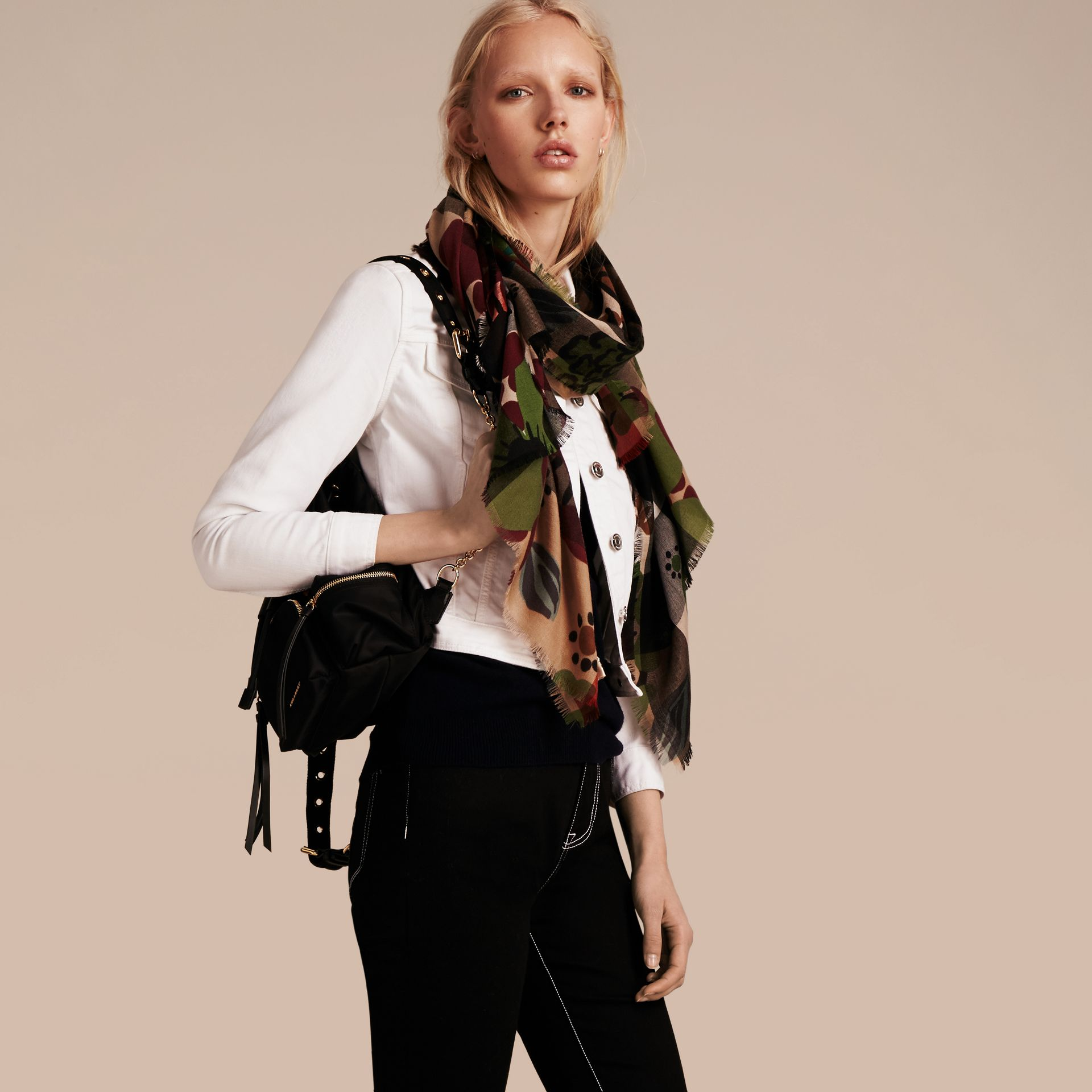 Damson pink The Lightweight Cashmere Scarf in Check and Floral Print - gallery image 3