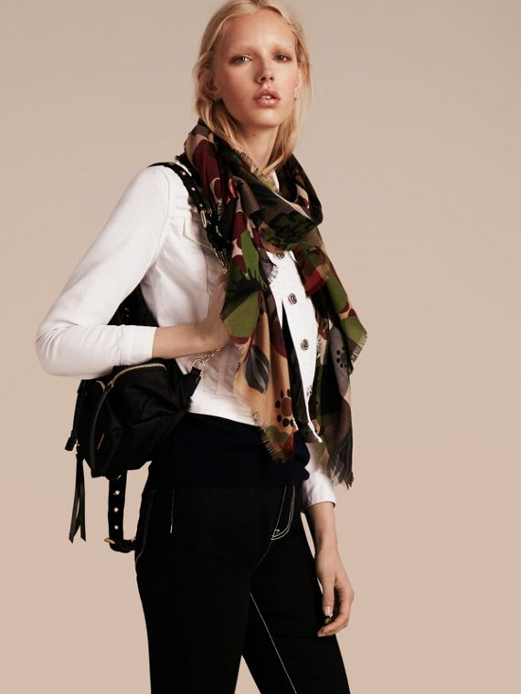 Damson pink The Lightweight Cashmere Scarf in Check and Floral Print - cell image 2