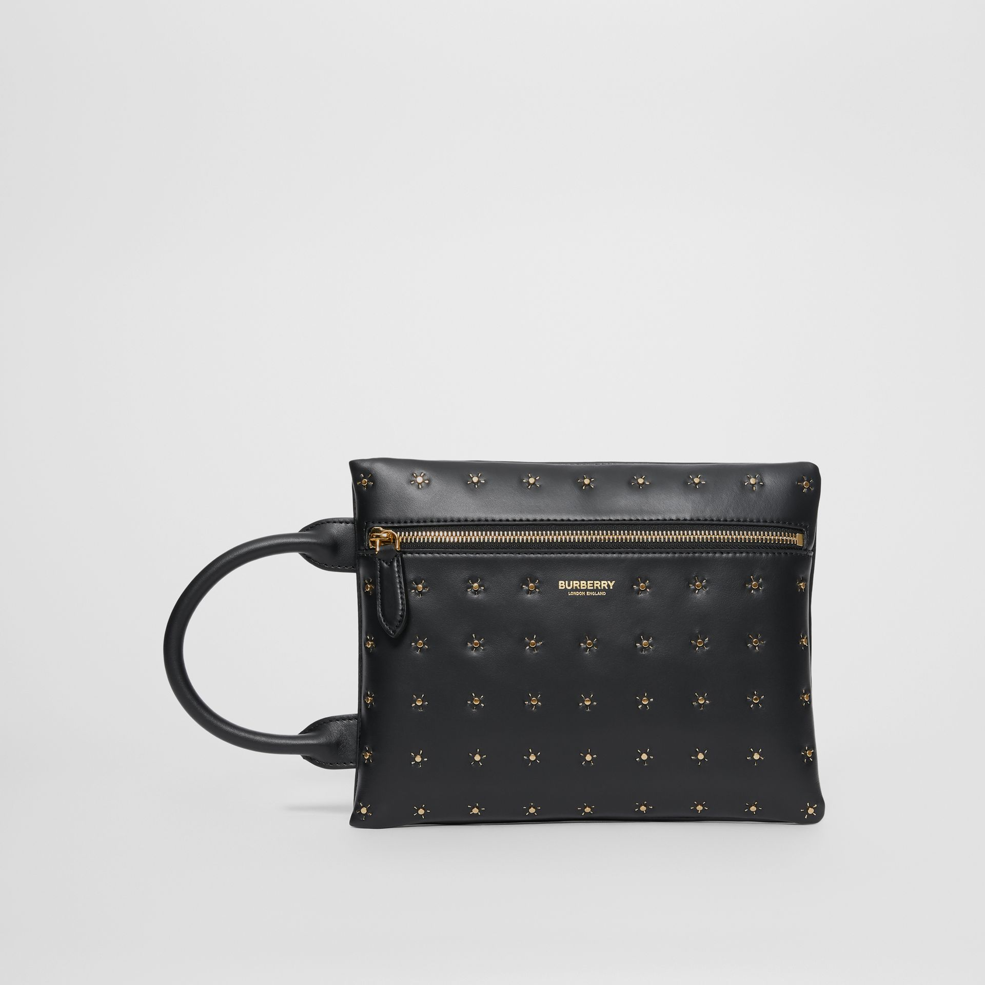Studded Leather Portrait Pouch in Black | Burberry United Kingdom - gallery image 3