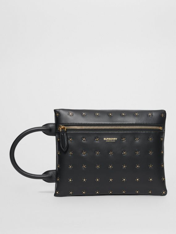 Studded Leather Portrait Pouch in Black
