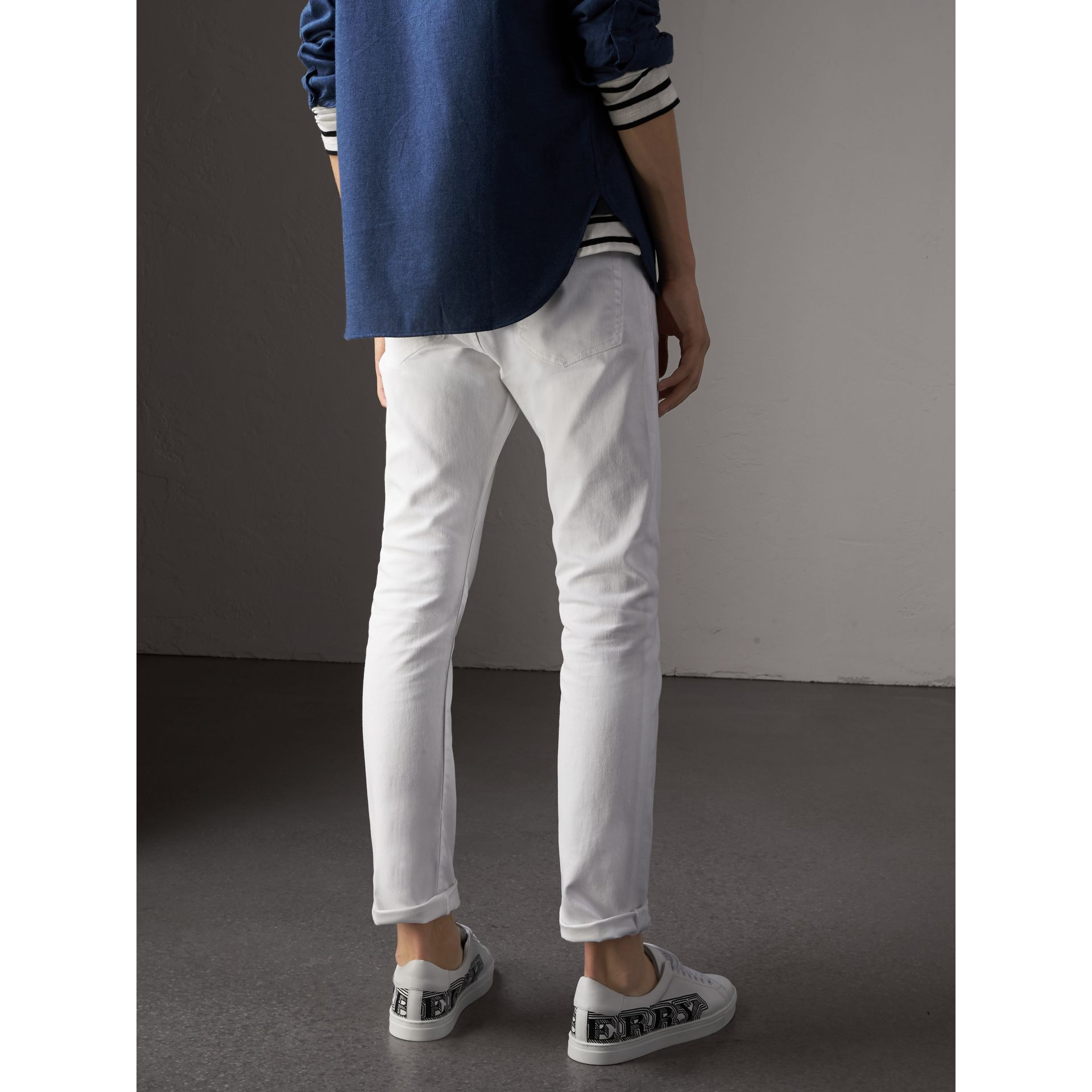 Straight Fit Stretch Japanese Denim Jeans in White - Men | Burberry - gallery image 3