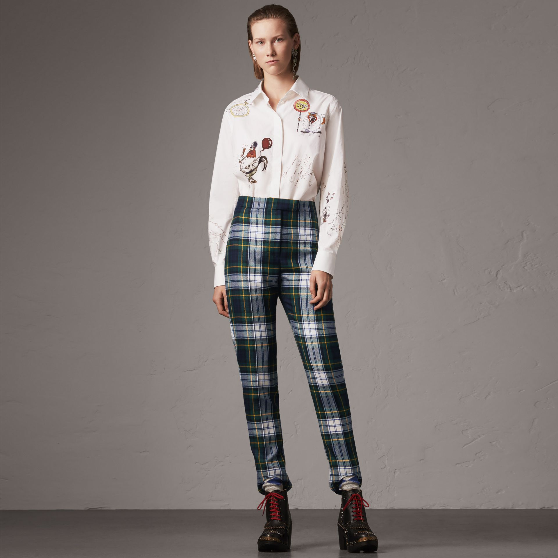 Sketch Print Cotton Shirt in White - Women | Burberry - gallery image 0