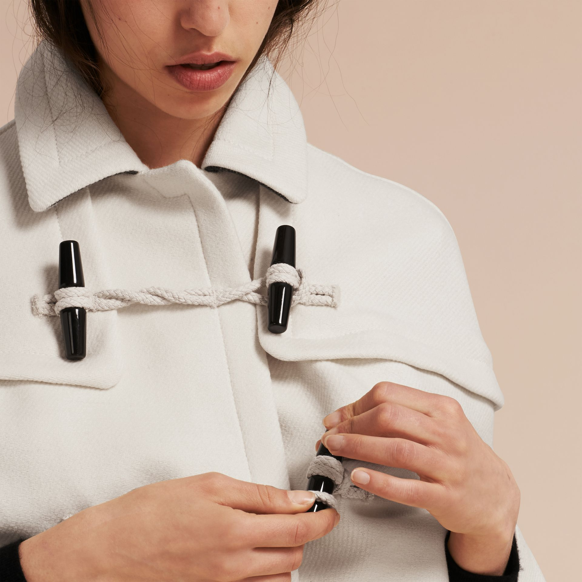 Natural white Wool Cashmere Duffle Cape Coat Natural White - gallery image 5