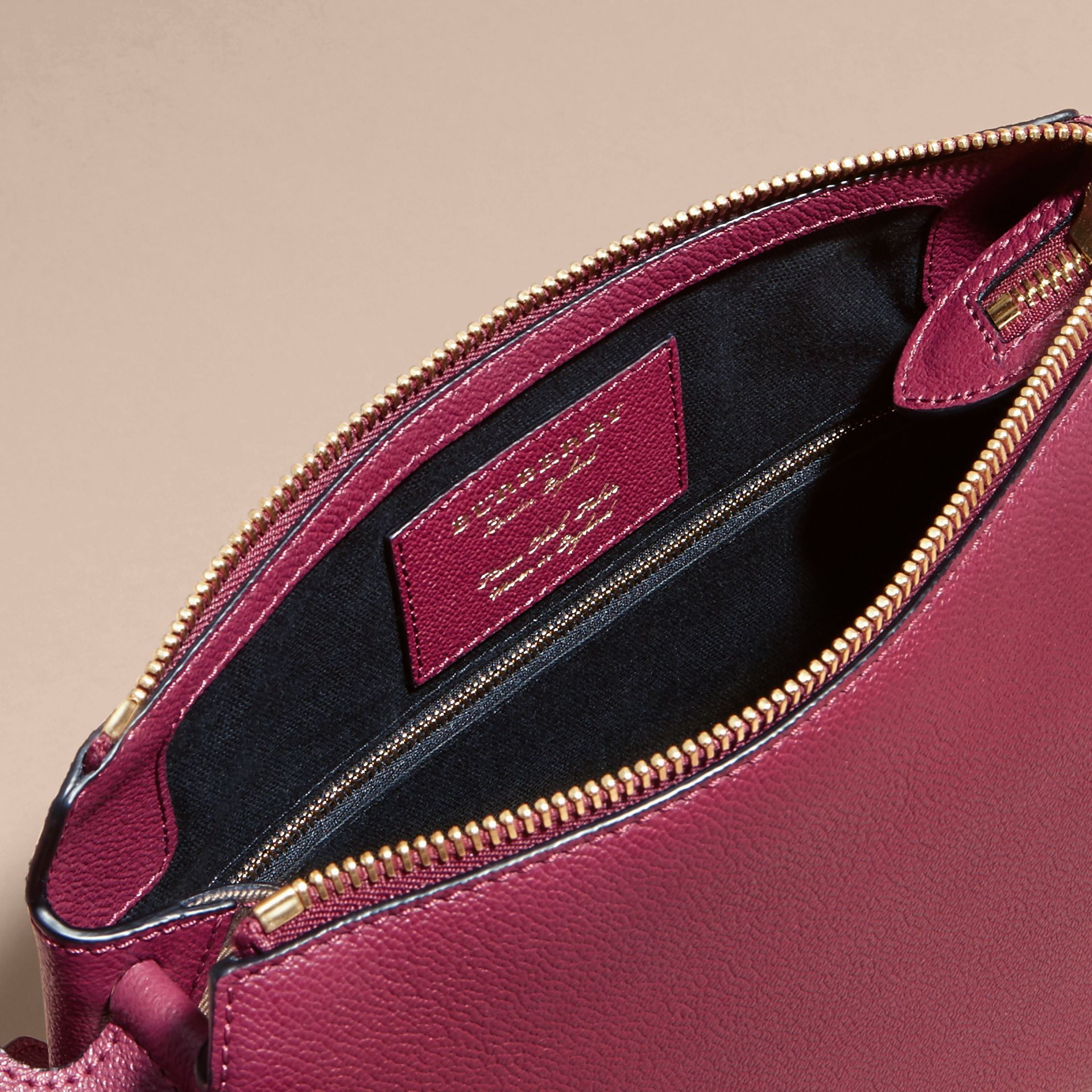 Buckle Detail Leather and House Check Crossbody Bag in Dark Plum - Women | Burberry - gallery image 5