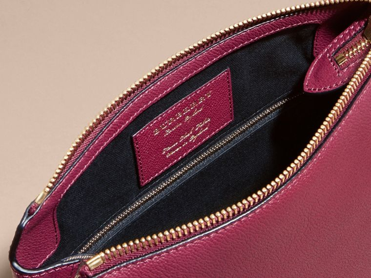 Dark plum Buckle Detail Leather and House Check Crossbody Bag Dark Plum - cell image 4