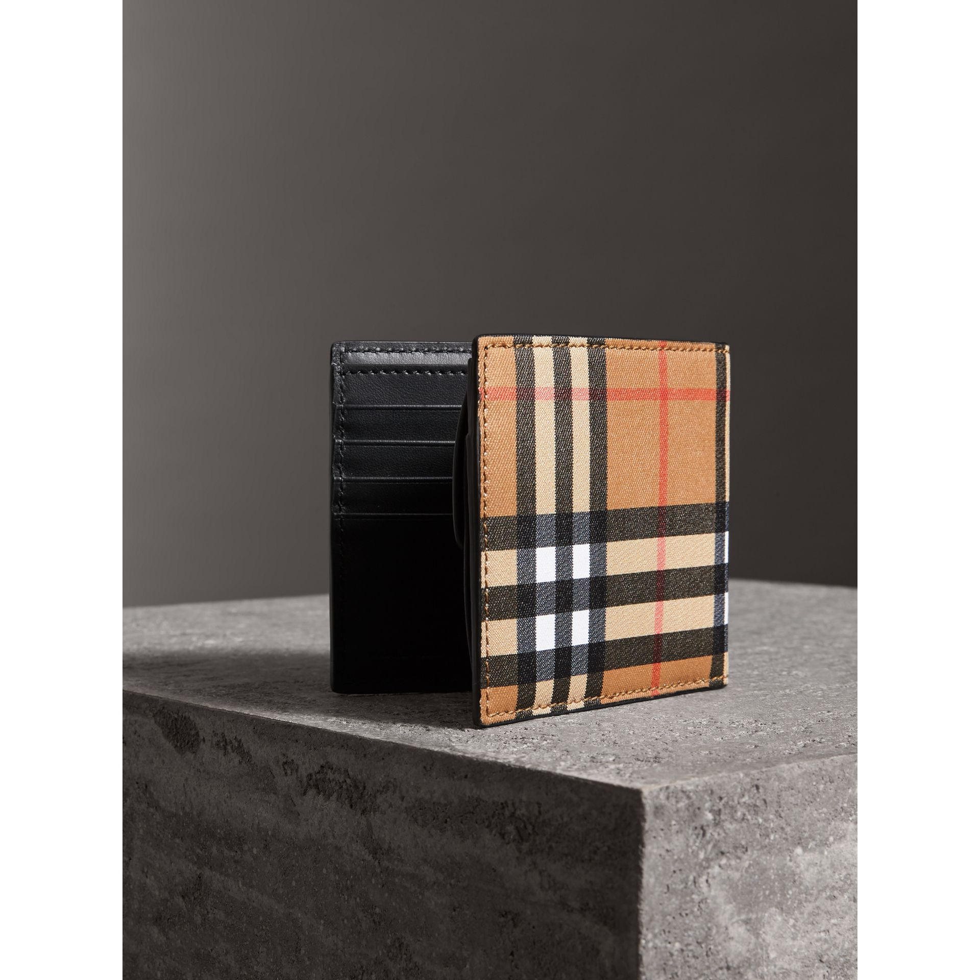 Vintage Check And Leather International Bifold Coin Wallet in Black - Men | Burberry - gallery image 2