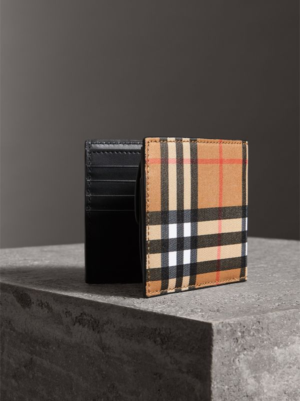 Vintage Check And Leather International Bifold Coin Wallet in Black - Men | Burberry Hong Kong - cell image 2