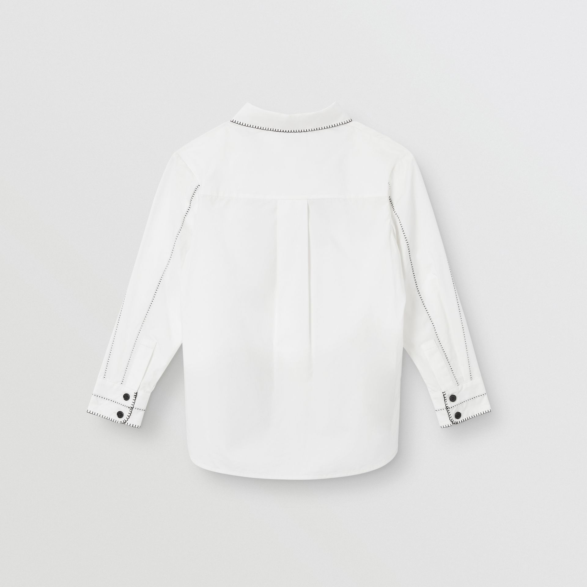 Peter Pan Collar Stretch Cotton Poplin Shirt in White | Burberry - gallery image 3