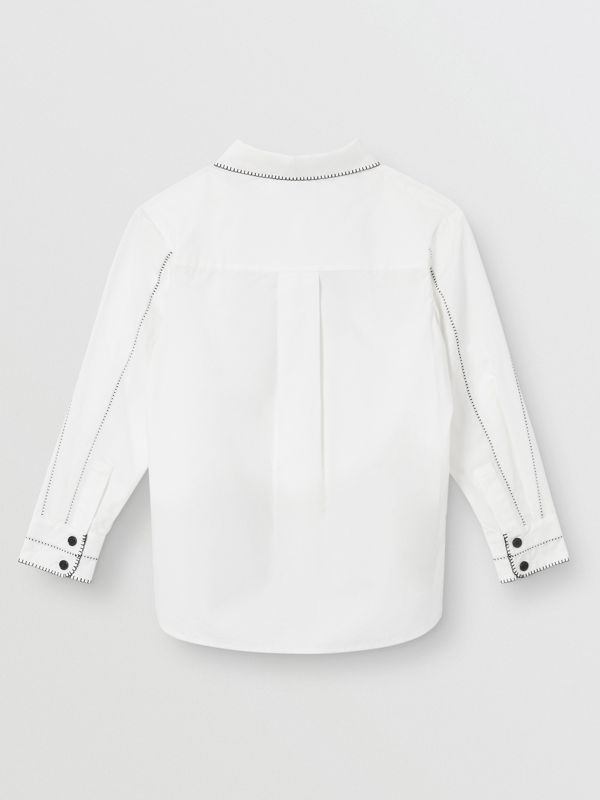 Camicia in popeline di cotone stretch con colletto Peter Pan (Bianco) | Burberry - cell image 2