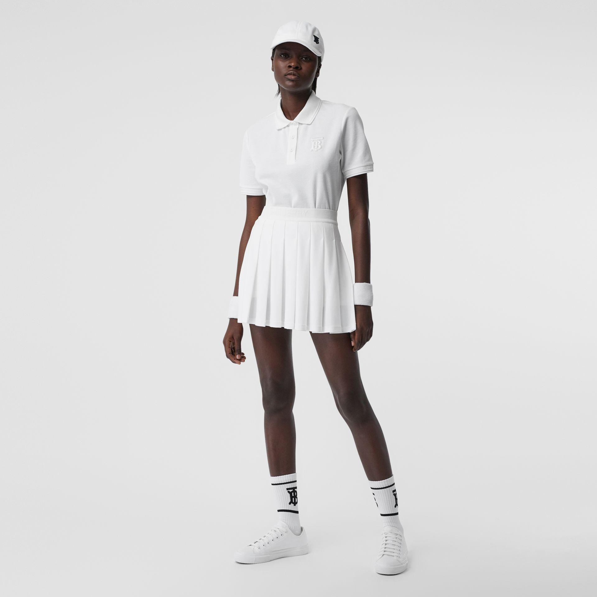 Pleated Jersey Tennis Skirt in White - Women | Burberry - gallery image 0