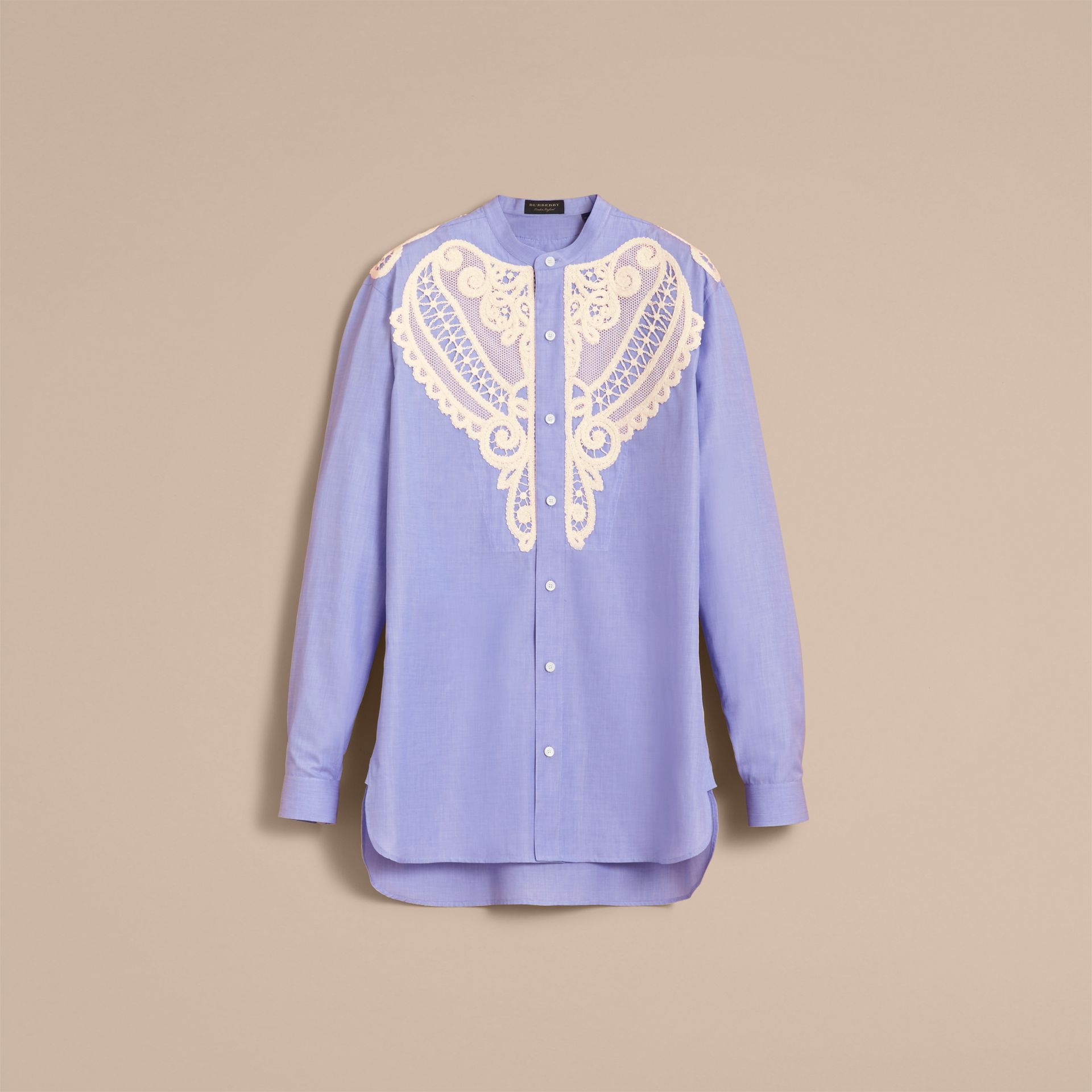 Lace Appliqué Cotton Chambray Shirt - Men | Burberry Hong Kong - gallery image 4