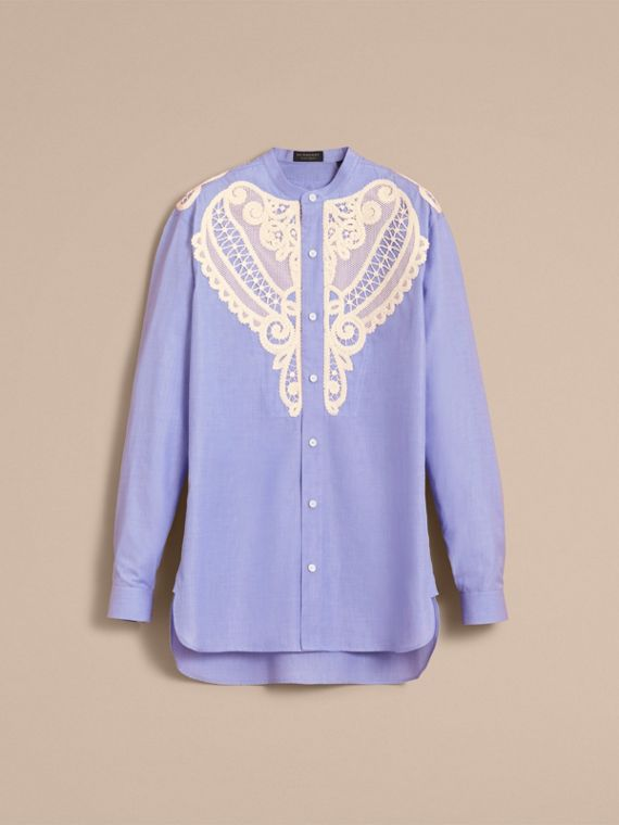 Lace Appliqué Cotton Chambray Shirt in Mid Indigo - Men | Burberry - cell image 3