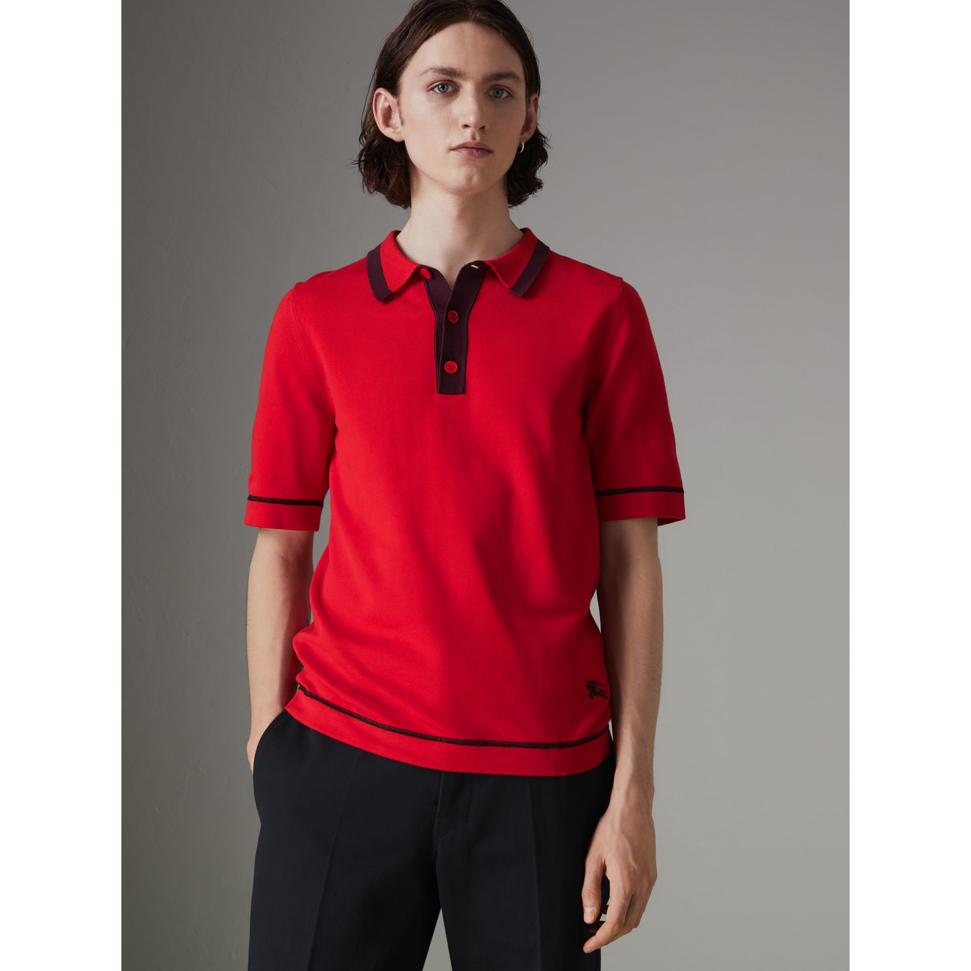 Tipped Cotton Jersey Polo Shirt in Bright Red - Men | Burberry - gallery image 0