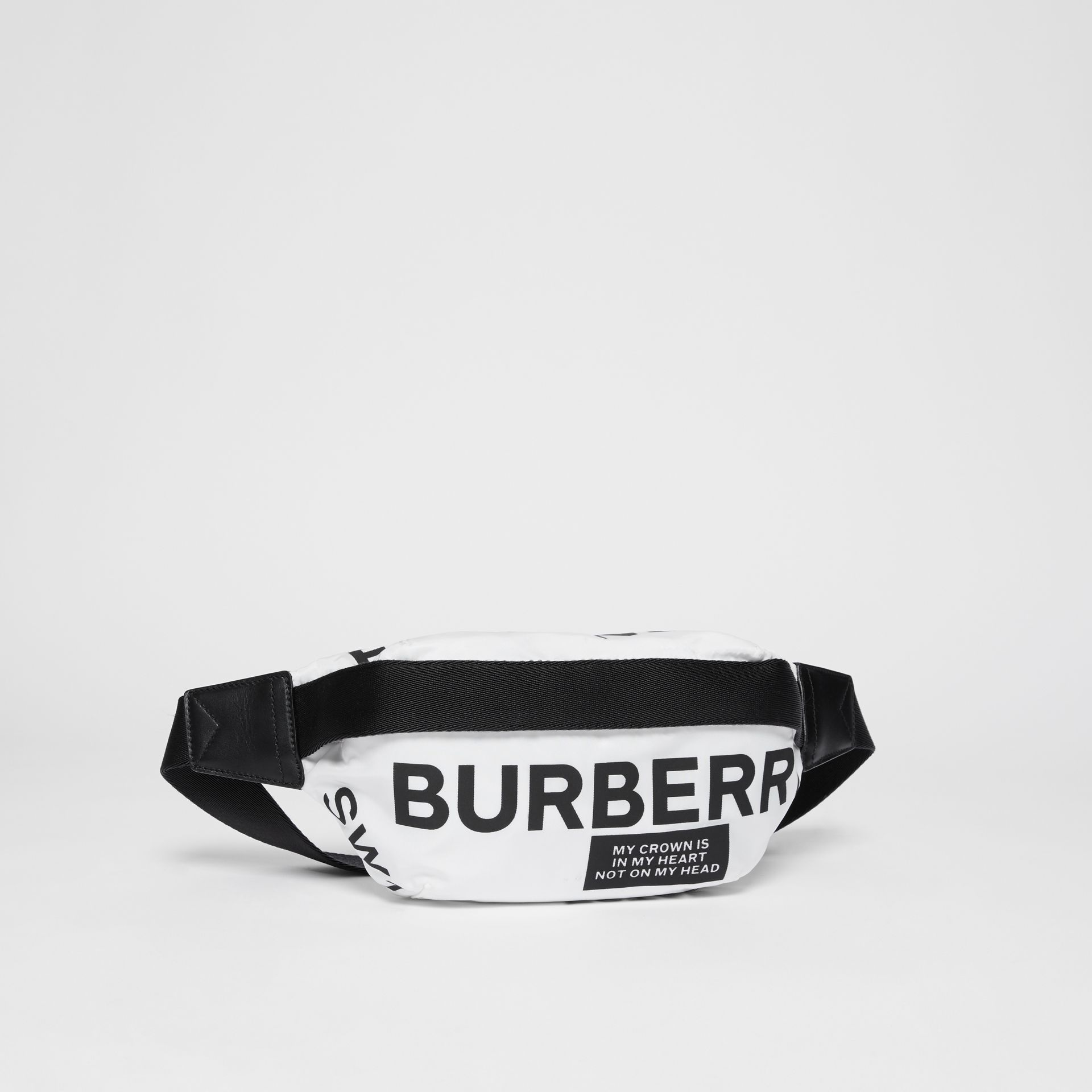 Medium Logo Print Bum Bag in White | Burberry - gallery image 8
