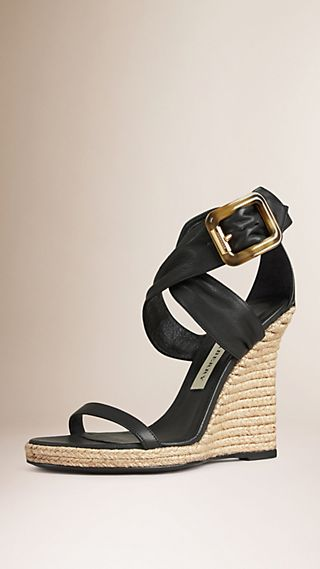Buckle Detail Suede Wedges