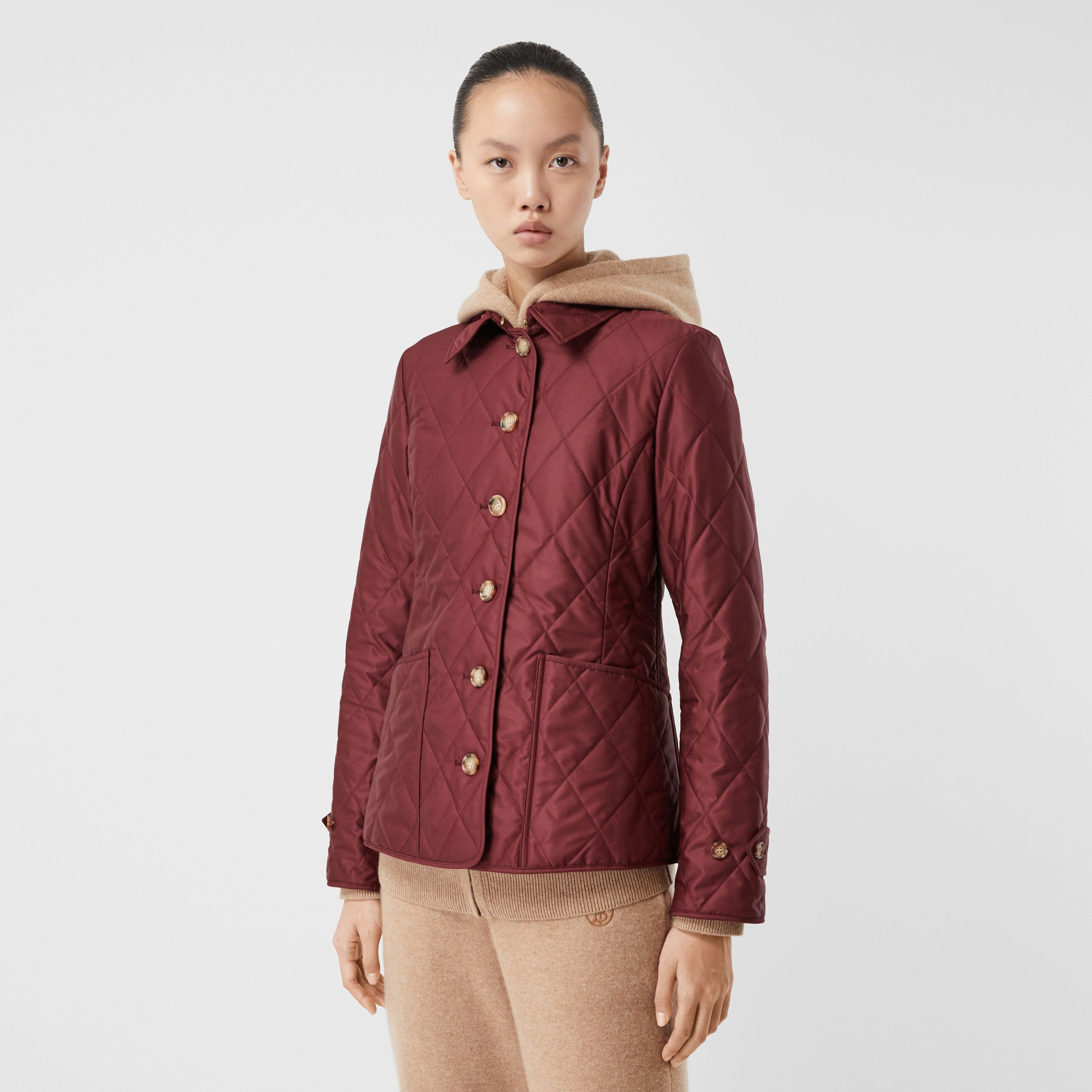Diamond Quilted Thermoregulated Jacket in Deep Claret - Women | Burberry - 1