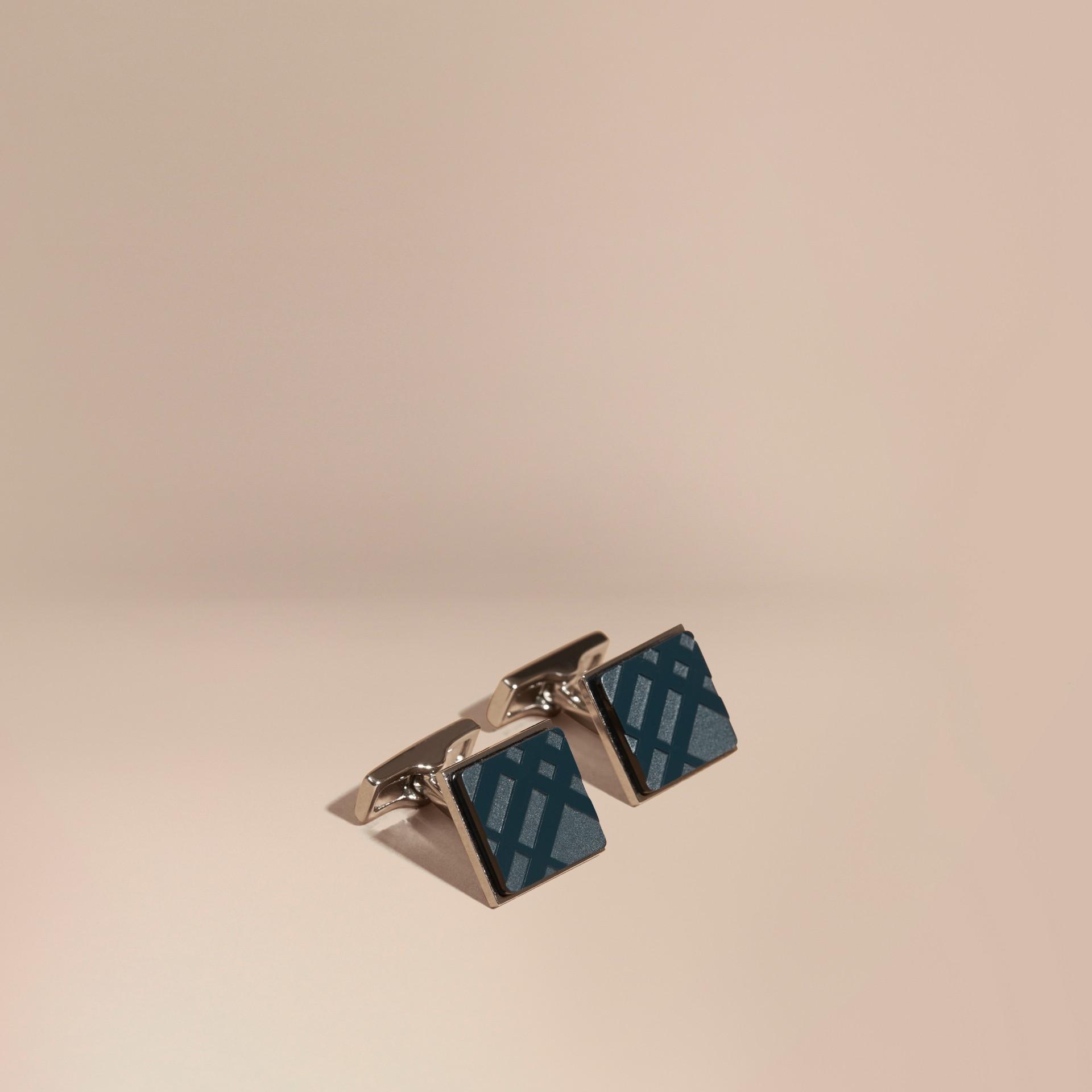 Lapis blue Check-engraved Square Cufflinks Lapis Blue - gallery image 1