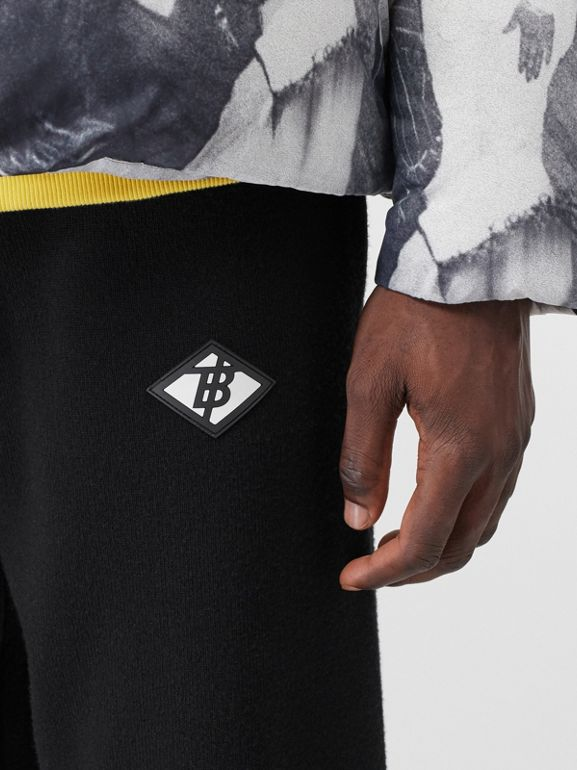 Logo Graphic Merino Wool Trackpants in Black - Men | Burberry - cell image 1