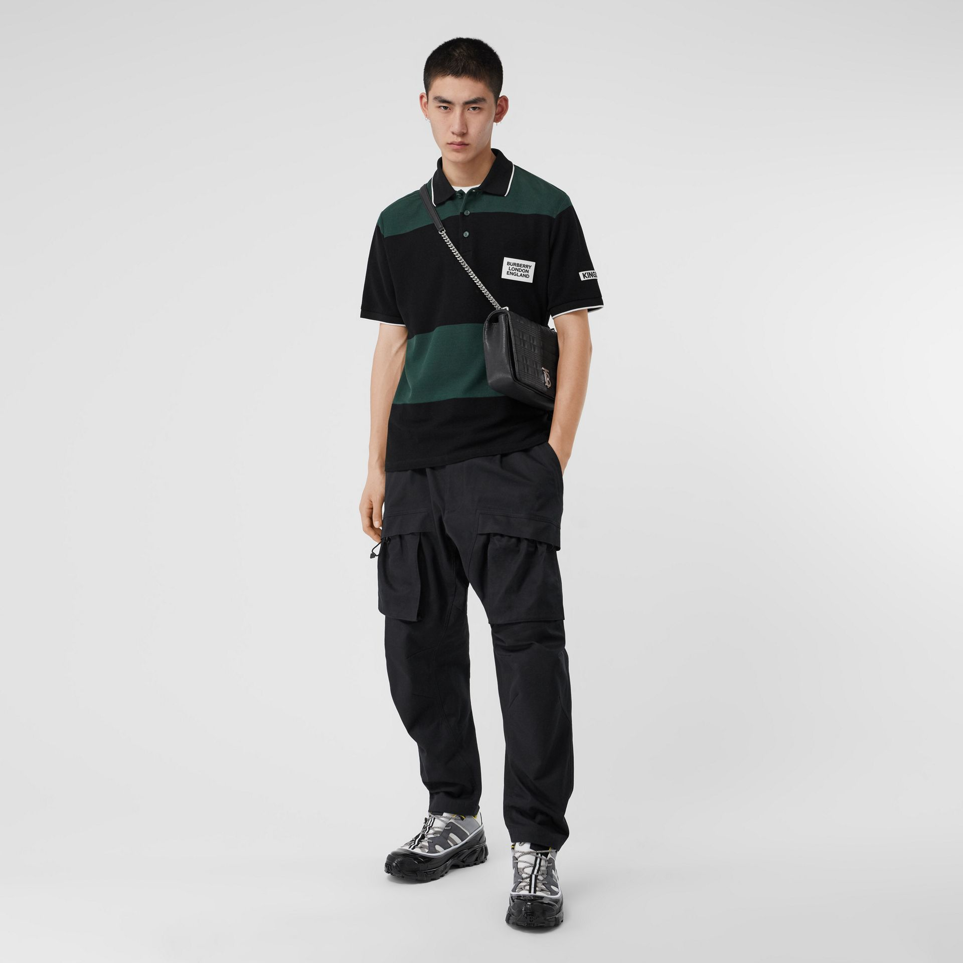 Cotton Cargo Trousers in Black - Men | Burberry - gallery image 0