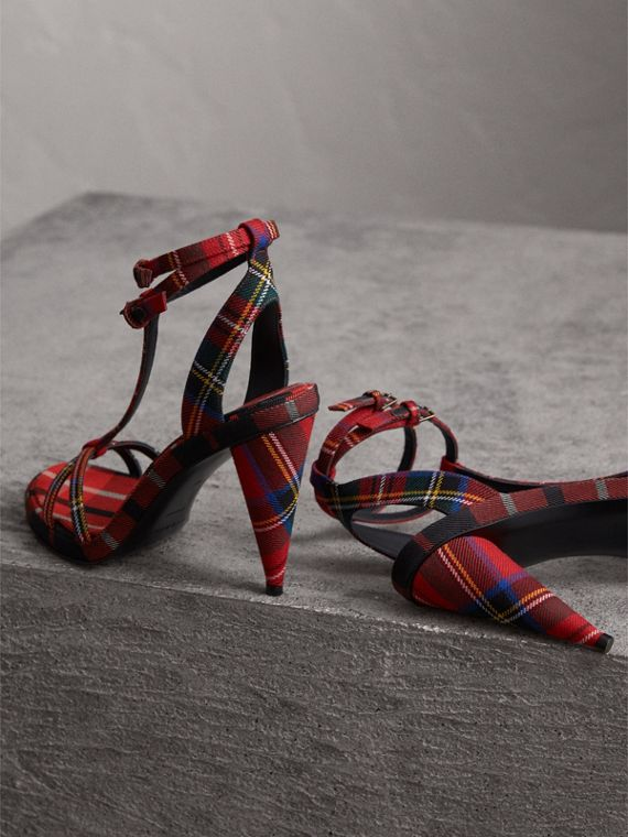 Tartan Wool High Cone-heel Sandals in Vibrant Red - Women | Burberry - cell image 3