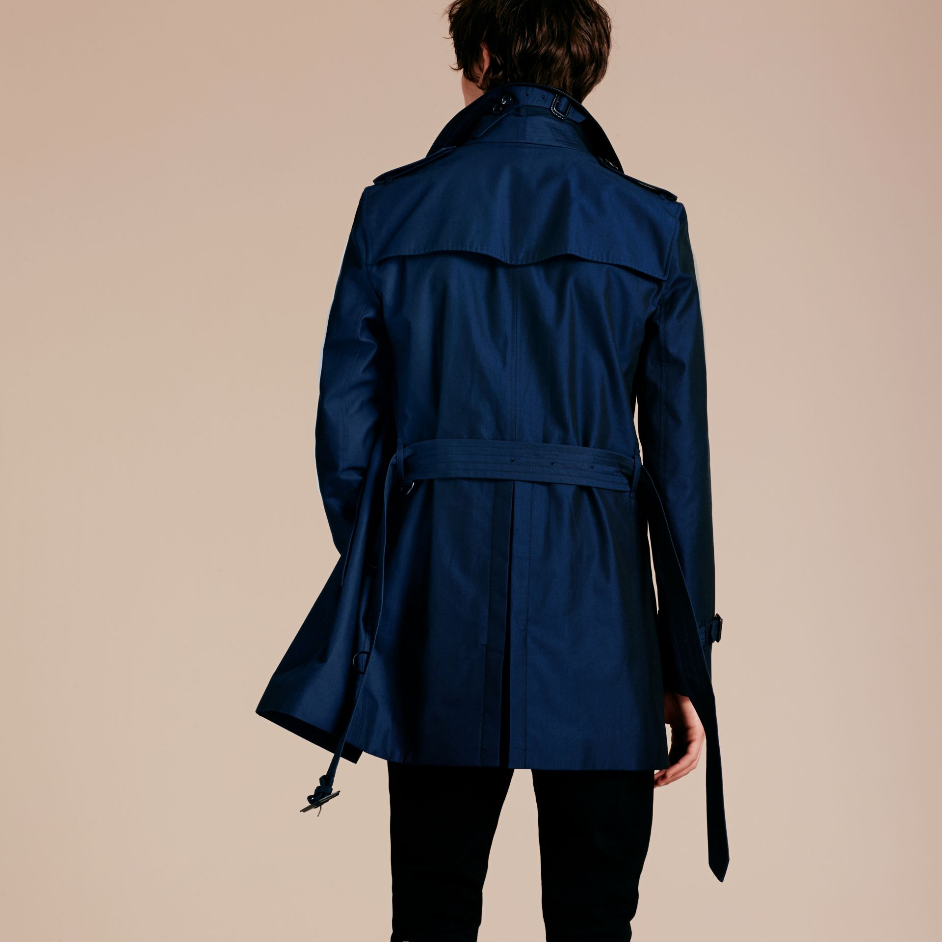 Bright regency blue Cotton Gabardine Trench Coat with Lambskin Topcollar - gallery image 3