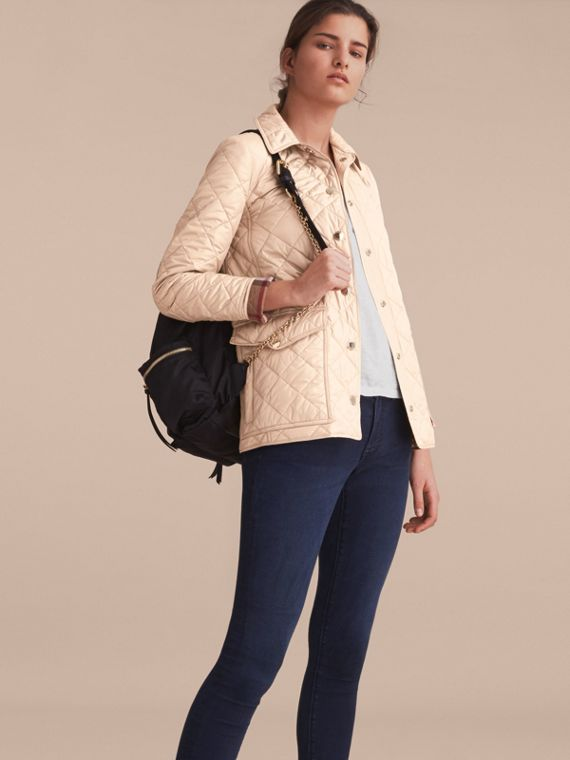 Check Detail Diamond Quilted Jacket in Dark Stone - Women | Burberry Singapore