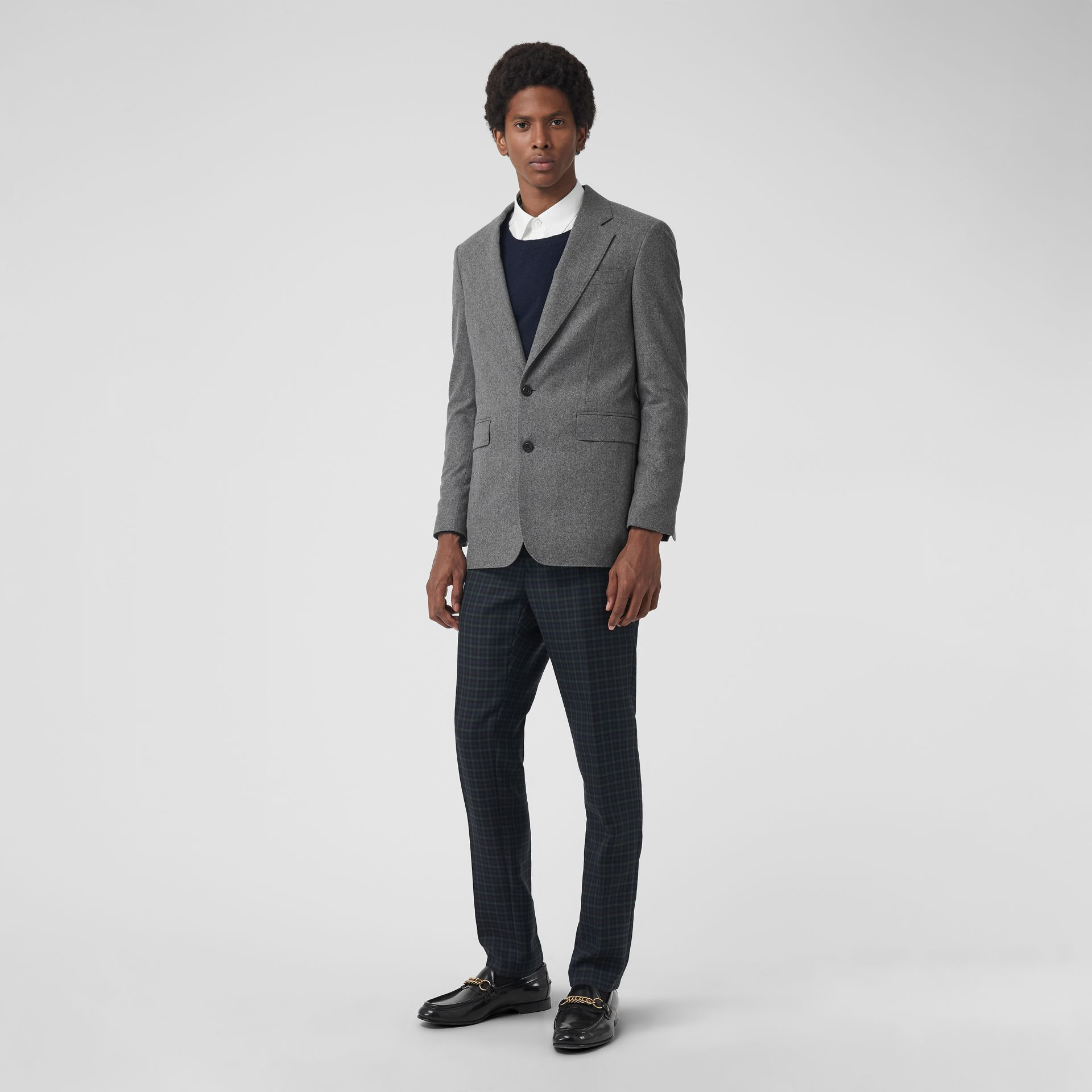 Modern Fit Wool Cashmere Tailored Jacket in Mid Grey Melange - Men | Burberry Australia - gallery image 0