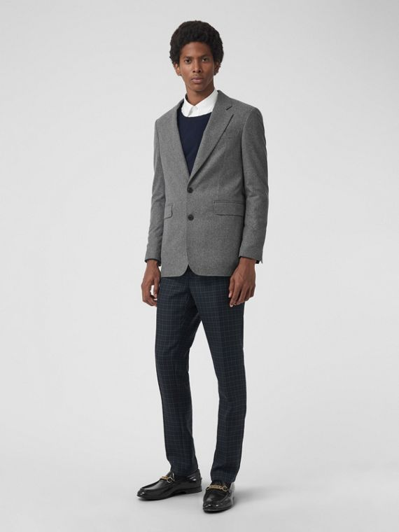 Modern Fit Wool Cashmere Tailored Jacket in Mid Grey Melange