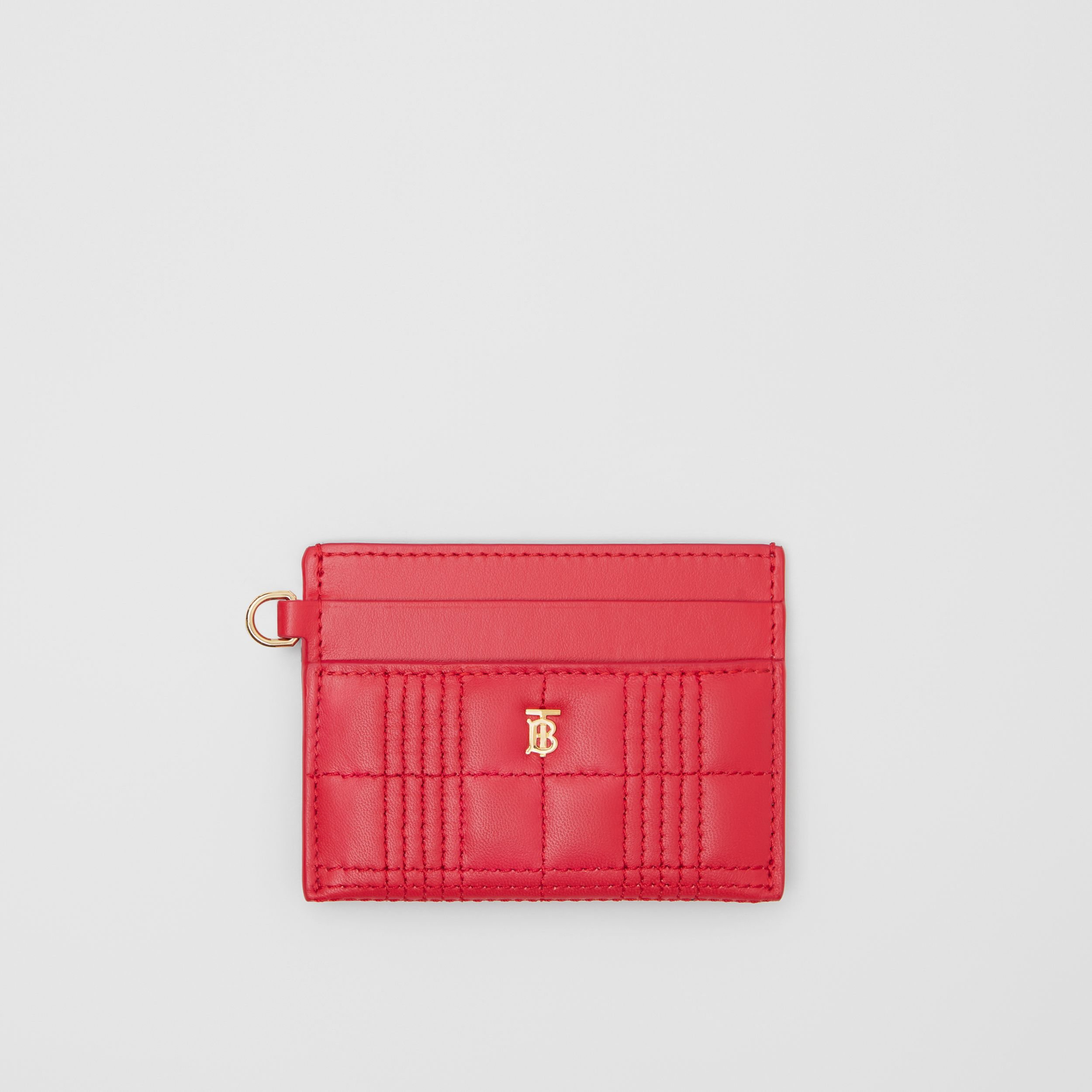 Monogram Motif Quilted Lambskin Card Case in Bright Red - Women | Burberry - 1