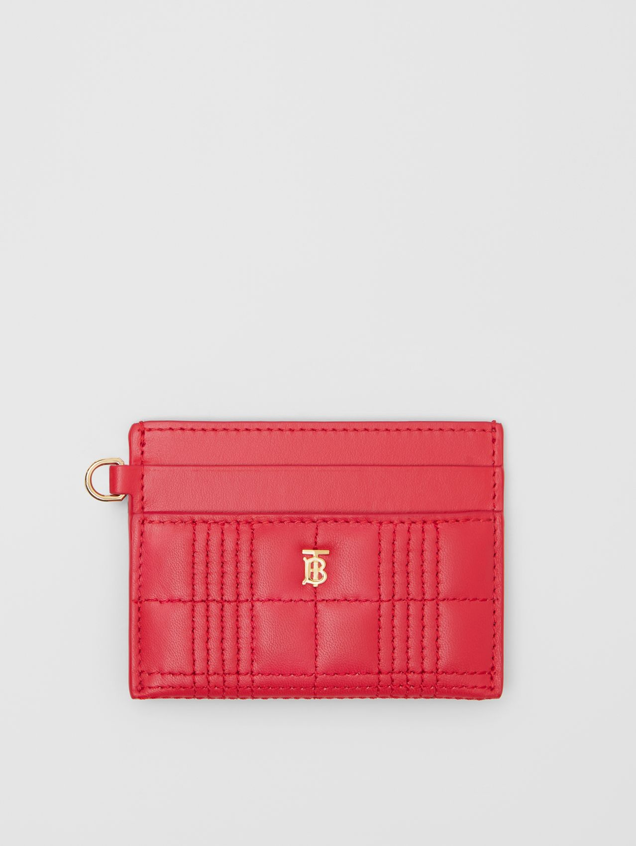 Monogram Motif Quilted Lambskin Card Case in Bright Red