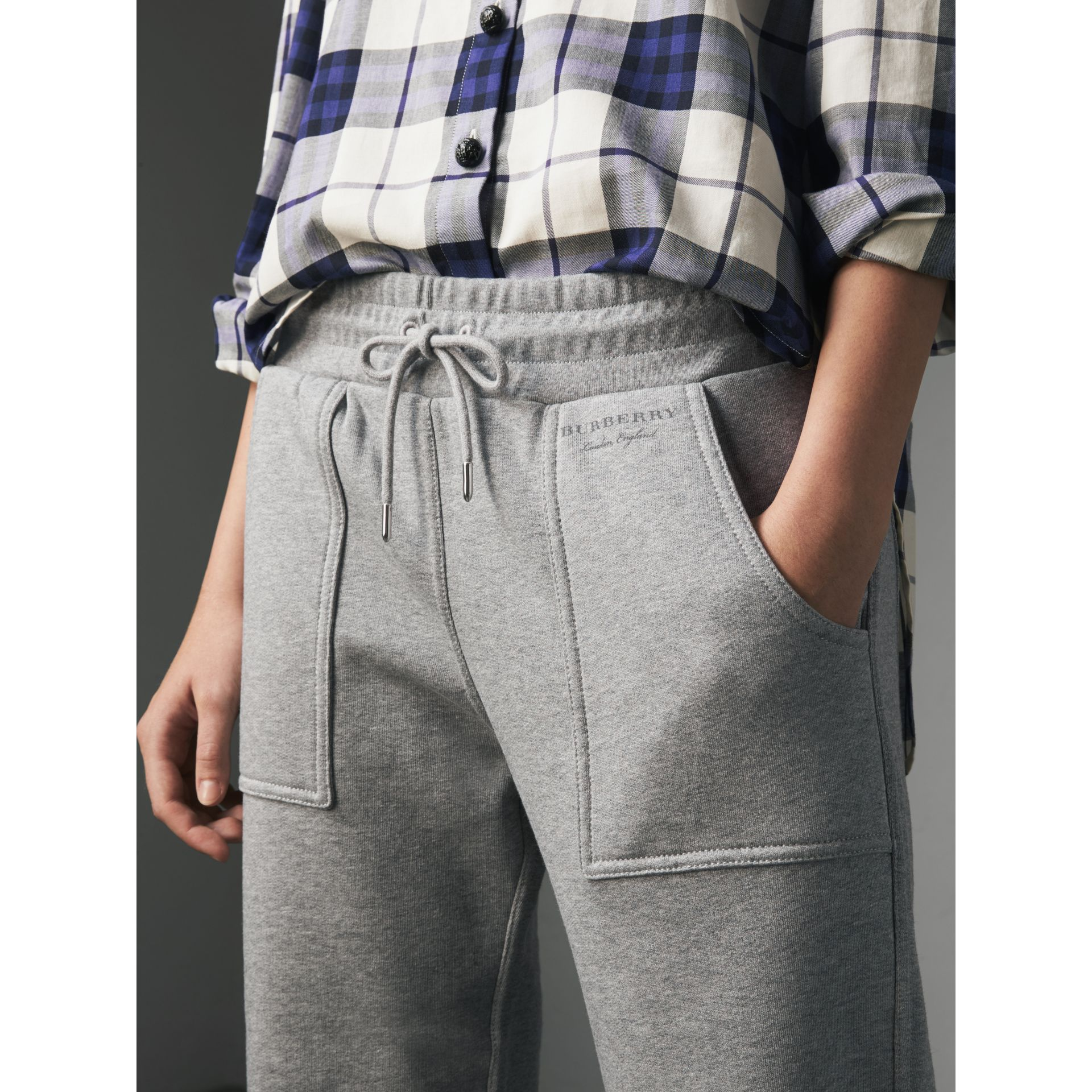 Cropped Jersey Sweatpants in Pale Grey Melange - Women | Burberry United Kingdom - gallery image 2