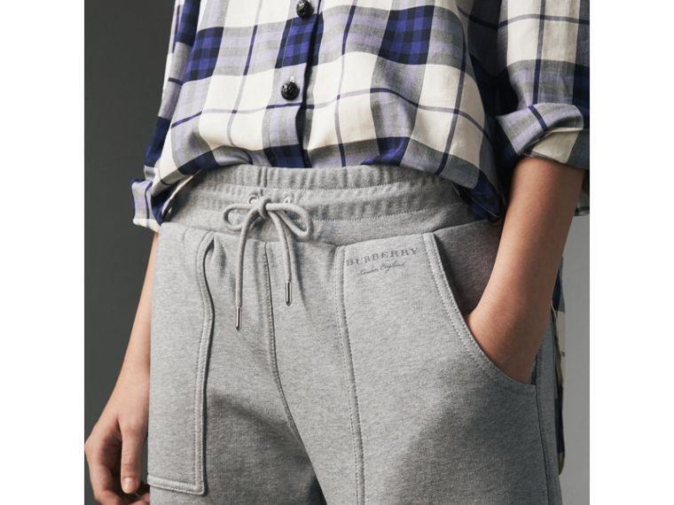 Cropped Jersey Sweatpants in Pale Grey Melange - Women | Burberry United Kingdom - cell image 1