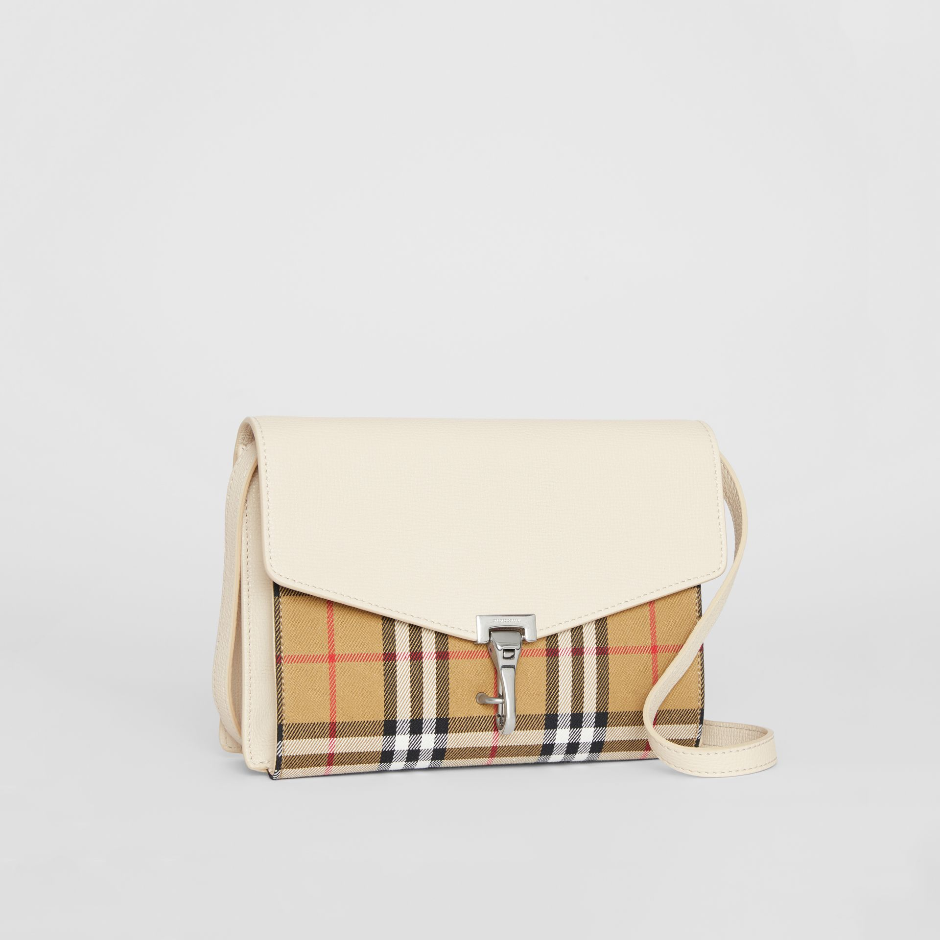 Small Vintage Check and Leather Crossbody Bag in Limestone - Women | Burberry - gallery image 6