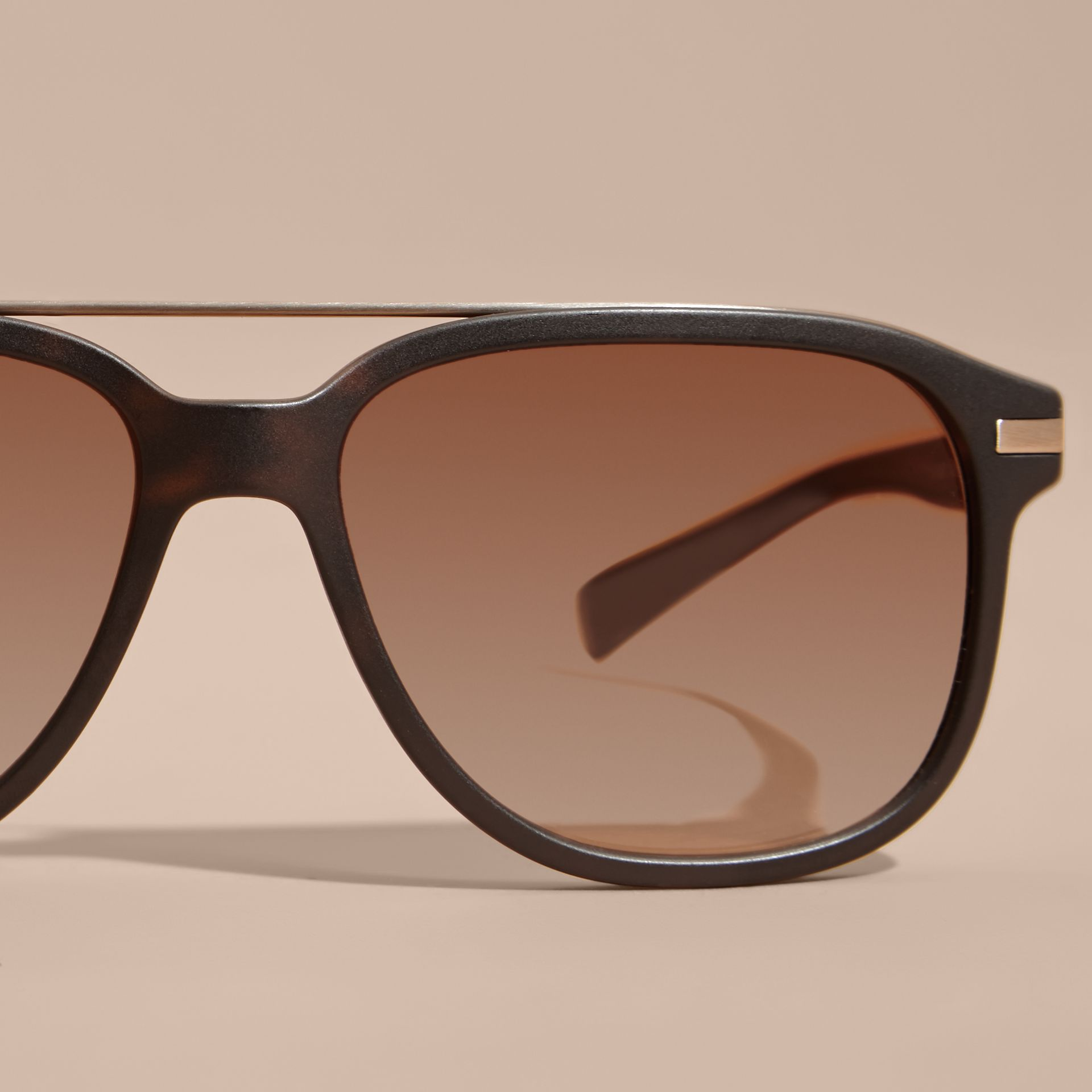 Square Frame Sunglasses in Tortoise Shell - Men | Burberry - gallery image 3