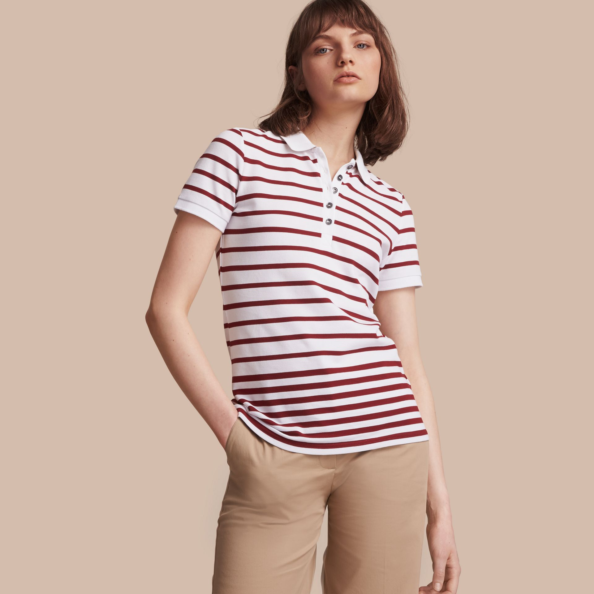 Striped Stretch Cotton Piqué Polo Shirt in White/parade Red - Women | Burberry - gallery image 1
