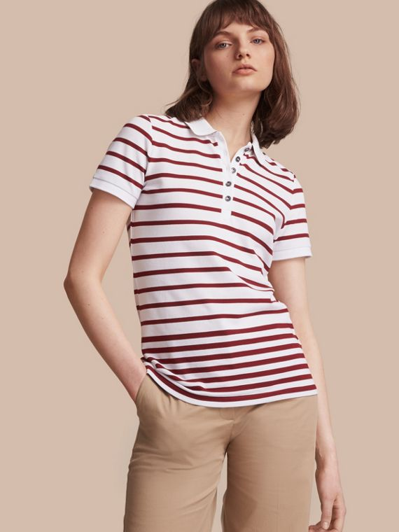 Striped Stretch Cotton Piqué Polo Shirt in White/parade Red