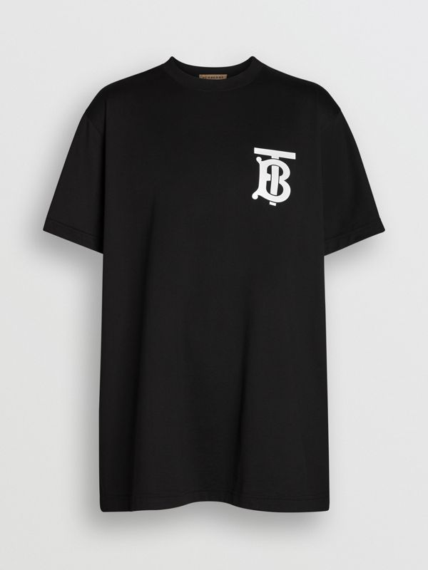 Monogram Motif Cotton Oversized T-shirt in Black - Women | Burberry - cell image 3