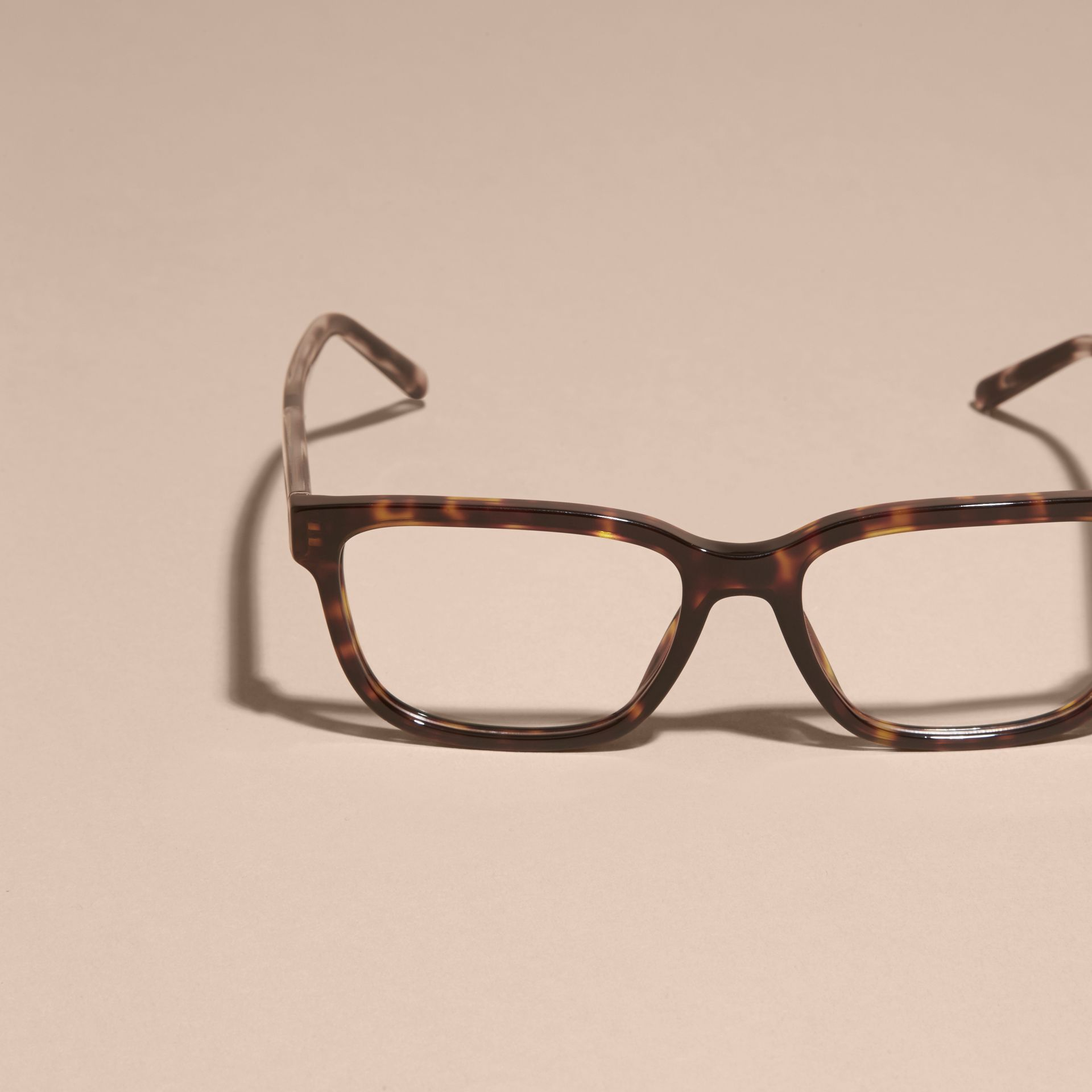 Light russet brown Check Detail Rectangular Optical Frames Light Russet Brown - gallery image 3
